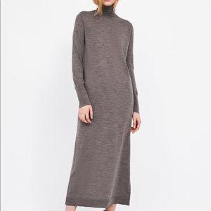 ZARA KNIT Merina wool long sleeve sweater dress